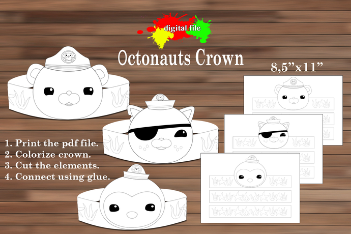 Octonauts paper Crown, Coloring Paper Crown, Octonauts Birthday Party Favor,