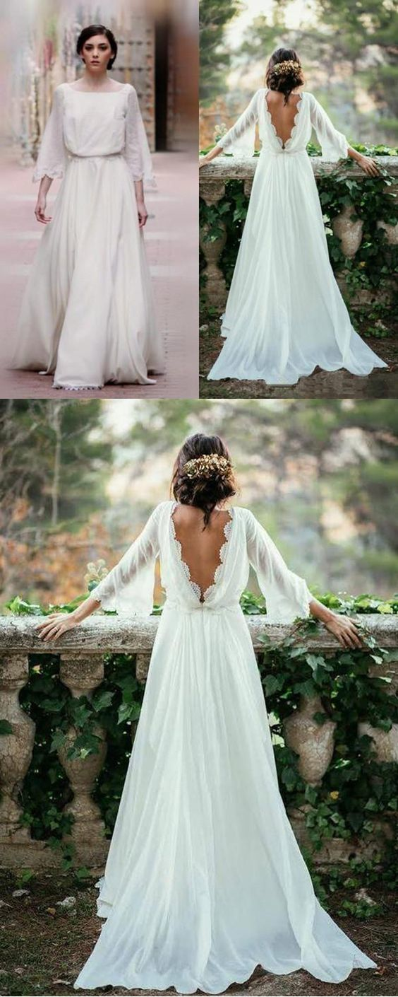 Three-Quarter Sleeve Long Bridesmaid Dresses