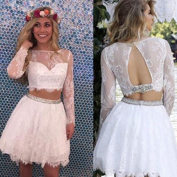 Modern 2 Piece Homecoming Dress - Short White Lace with Long Sleeves Beaded Open