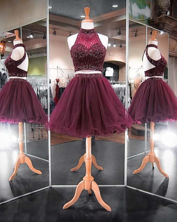 Emerald Green Two Piece Homecoming Dresses Beadings Stylish Short Tulle Prom