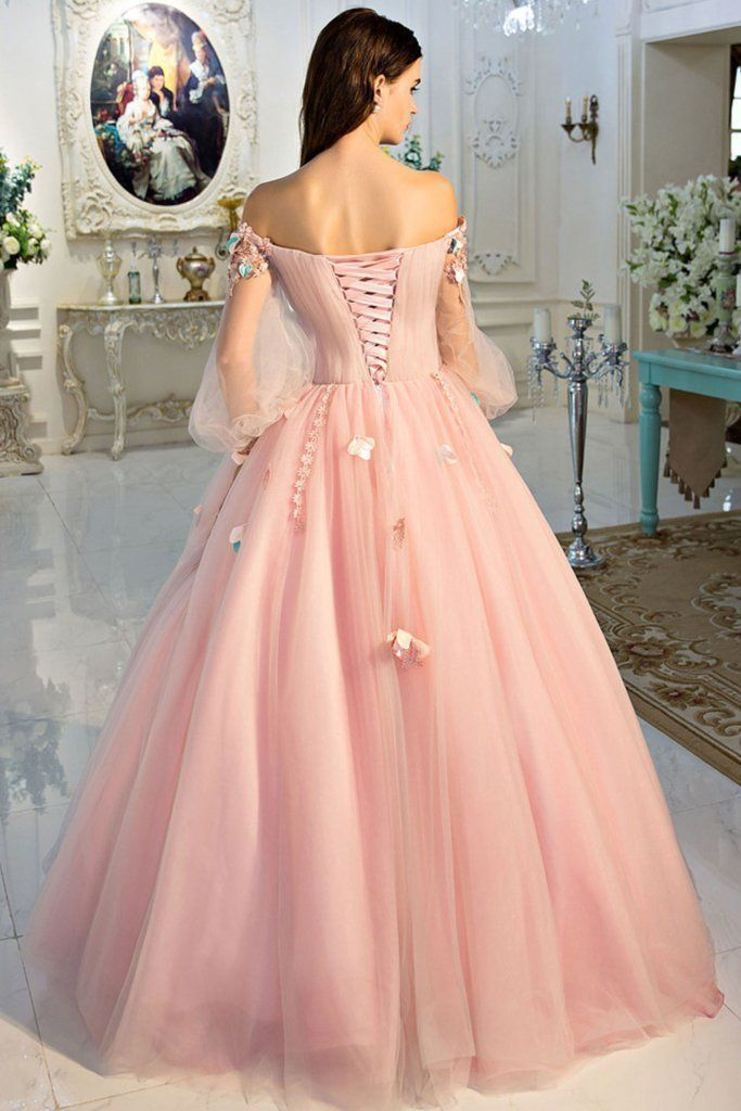 Chic A-line Pink Prom Dress,Off-the-shoulder Tulle Applique Long Sleeve Evening