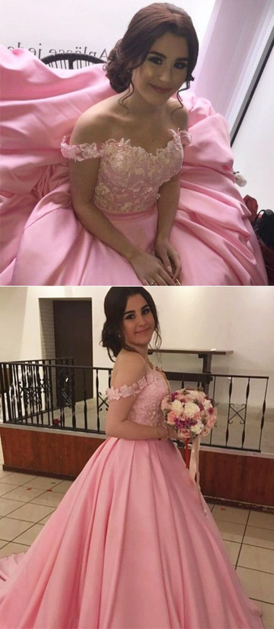 Pink Ball Gowns Prom Dress,Off The Shoulder Quinceanera Dresses,Engagement Dress
