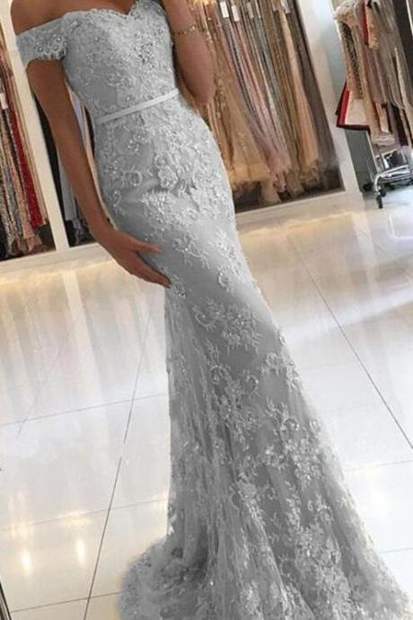 Off Shoulder Gold Lace Mermaid Evening Prom Dresses, Fashion Party Prom Dresses,