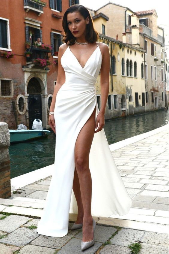 Sexy Spaghetti Straps Prom Dresses,Side Slit White Evening Dresses,Halter