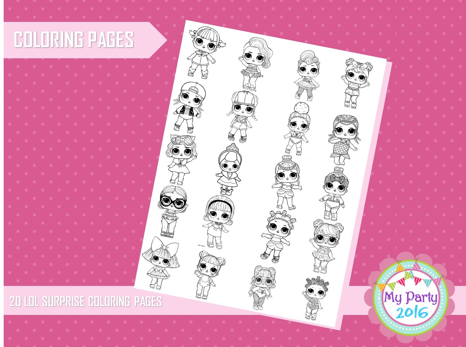 Lol Dolls Surprise Coloring Pages - Printable by MyParty2016 on Zibbet