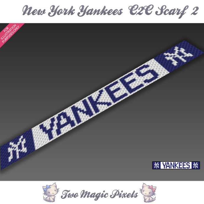 New York Yankees Scarf 2 pattern; graph; pdf download; C2C row-by-row counts