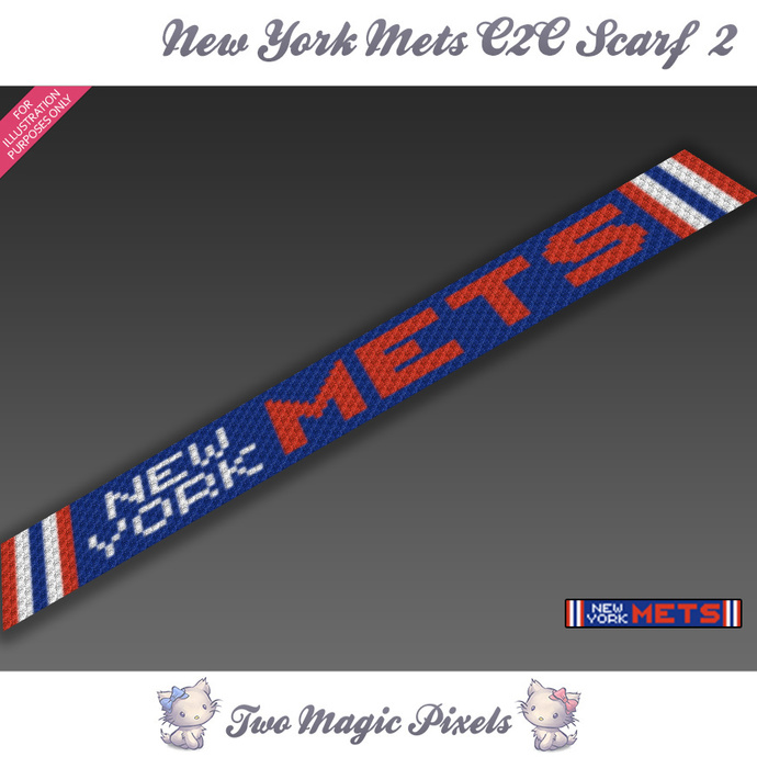 New York Mets Scarf 2 pattern; graph; pdf download; C2C row-by-row counts