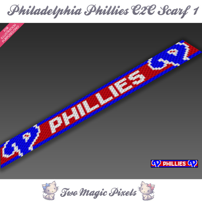 Philadelphia Phillies Scarf 1 pattern; graph; pdf download; C2C row-by-row