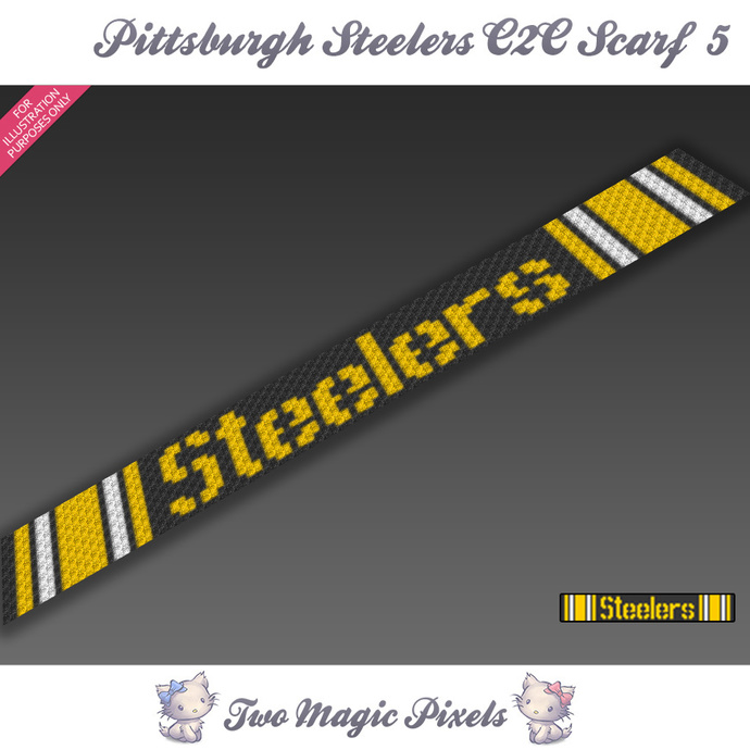 Pittsburgh Steelers Scarf 5 pattern; graph; pdf download; C2C row-by-row counts