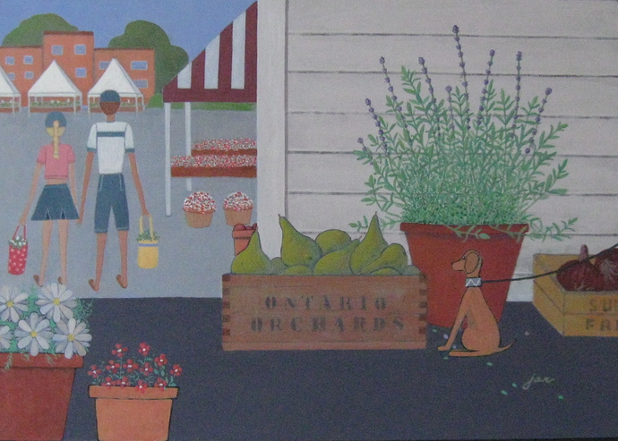 SOLD - A Day at the Farmers' Market - 18x24 - original acrylic on board