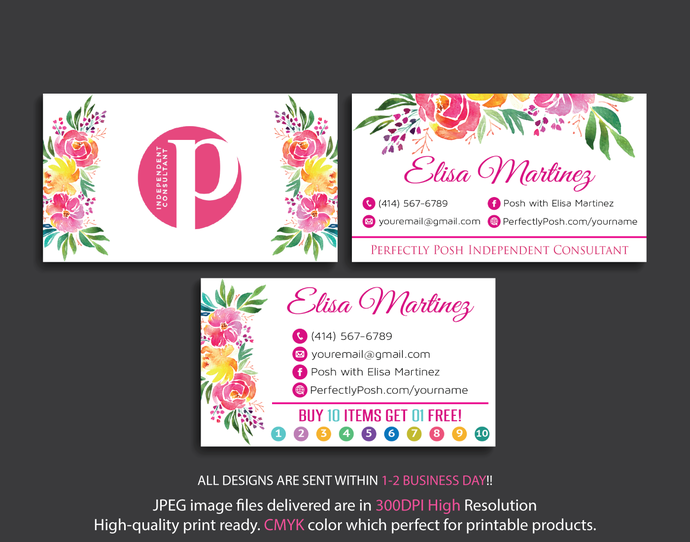 PERFECTLY POSH Consultant Business Cards, Perfectly Posh Business Cards,