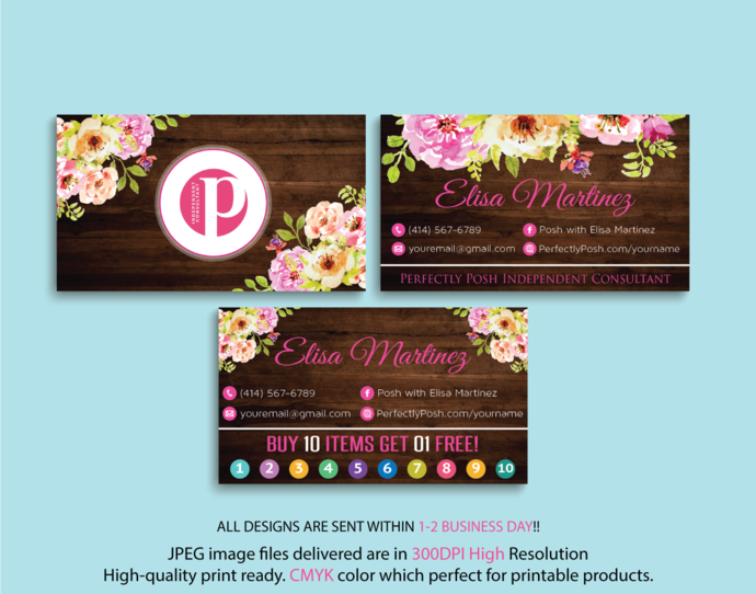 Perfectly Posh Business Cards, PERFECTLY POSH Consultant Business Cards,