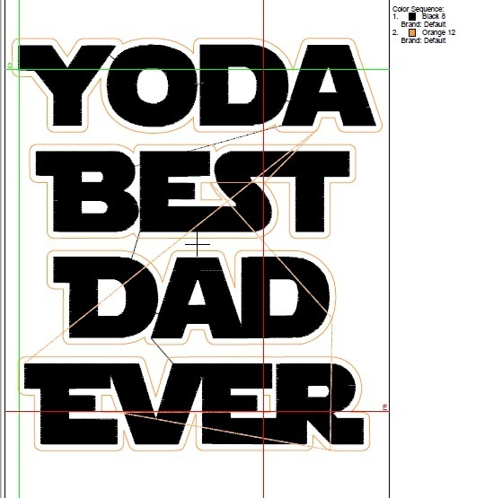Star Wars embroidery design Yoda Best Dad Machine Embroidery Designs pes file