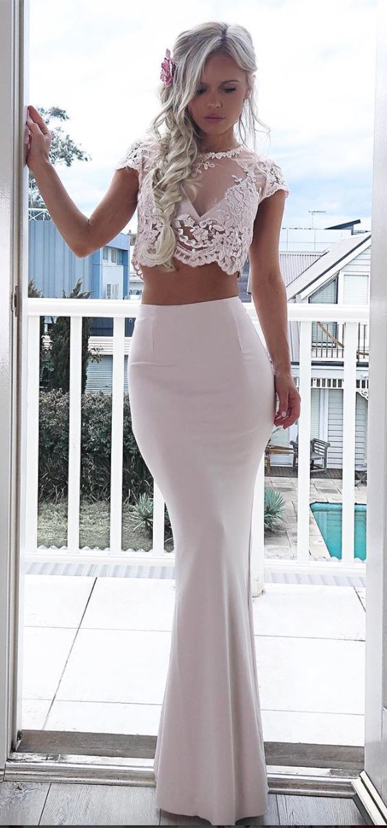 Elegant two piece ivory prom dress with lace,ivory mermaid party dress with lace
