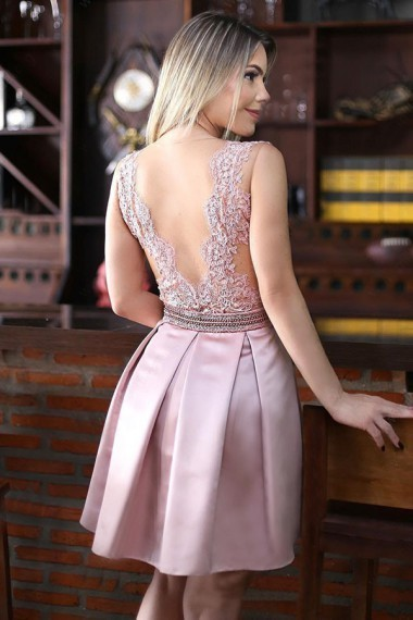 A-Line Crew Above-Knee Pink Satin Homecoming Dress with Appliques Beading