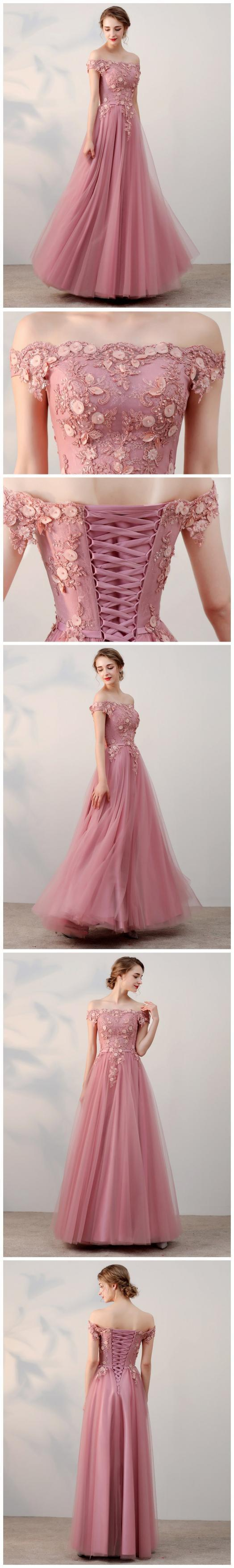 Chic A-line Off-the-shoulder Pink Applique Tulle Modest Long Prom Dress Evening