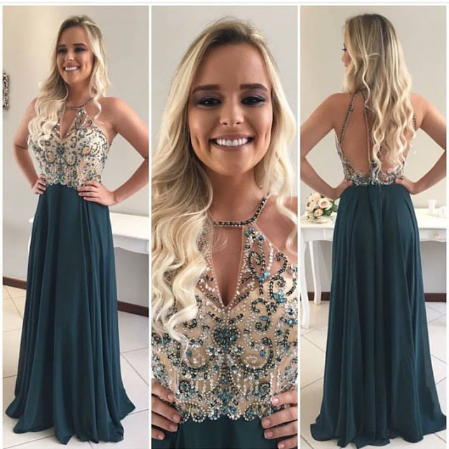 Open Back Prom Dress, Crystals Beaded Prom Dress,Fashion Prom Dress,Sexy Party