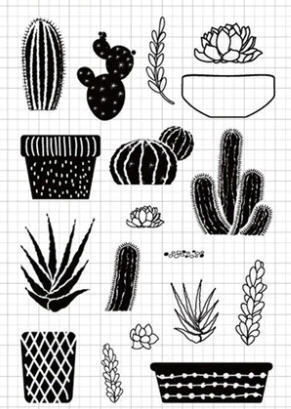 Build Your Own Cactus, Succulents with Pots, Clear Stamp Set