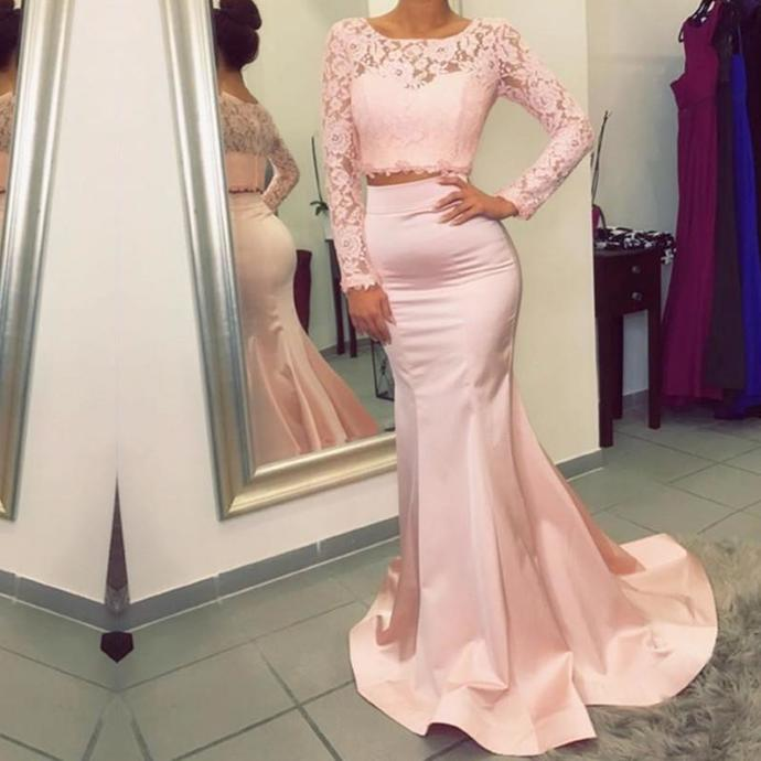 Charming Prom Dresses,Long Sleeve Evening Dress with Lace,Formal Evening