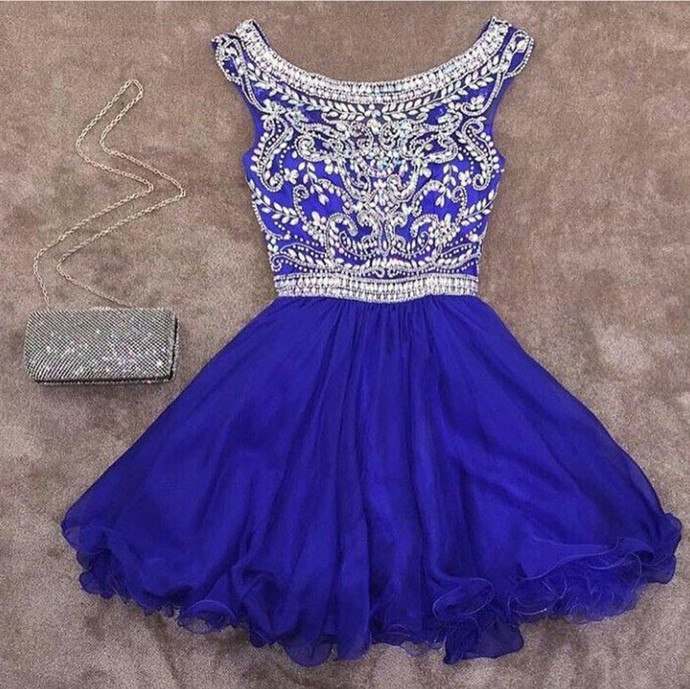 royal blue homecoming dress,crystal beaded homecoming dress,short prom