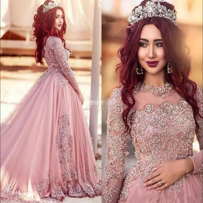 Blush Pink Arabic Dubai Vintage Evening Dresses Prom Party Gowns with Beads Lace