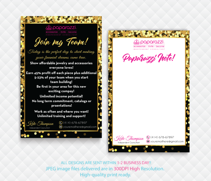 Paparazzi Note Cards, Paparazzi Join My Team cards, Paparazzi Consultant Cards,