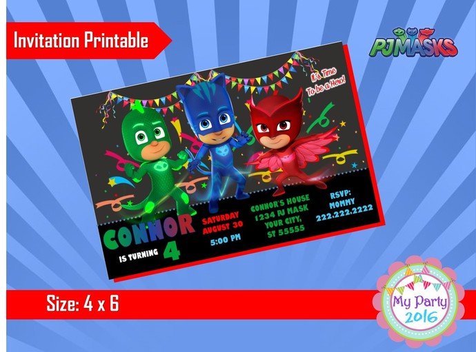 Pj Mask Birthday Party Invitation