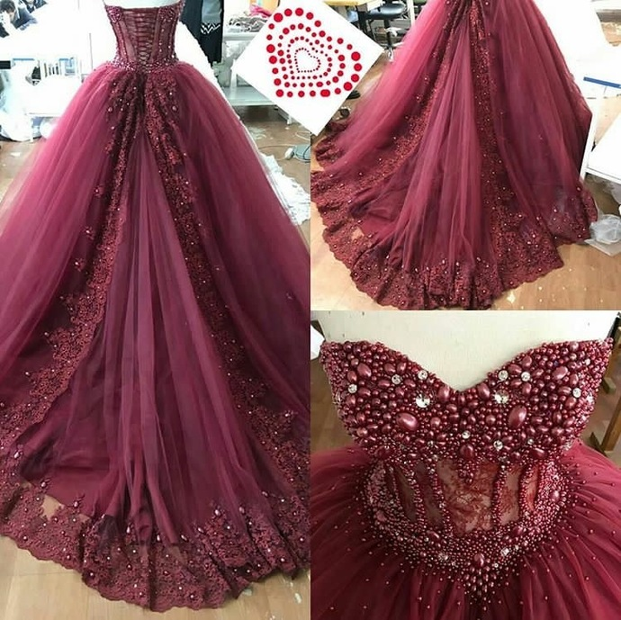 c8124cad7264 Boned Sweetheart Bridal Dresses with Luxury Crystal,Burgundy Lace Appliques