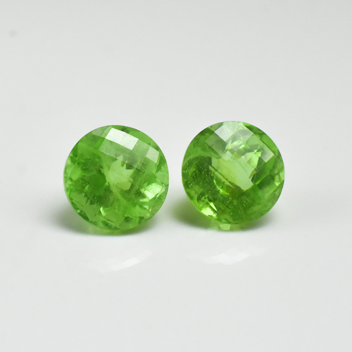 Green Peridot Semi Precious 14 MM faceted Round Checker Board Loose Gemstone