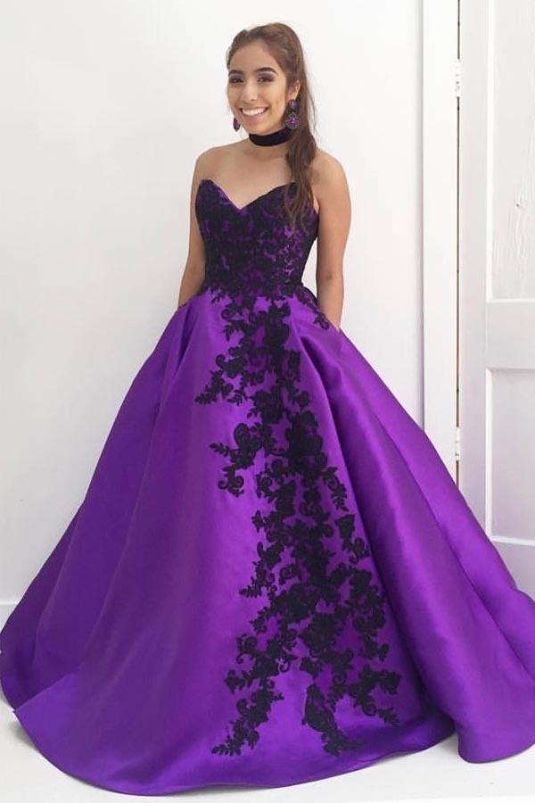 Ball Gown V Neck Prom Dresses,Strapless Black by prom dresses on