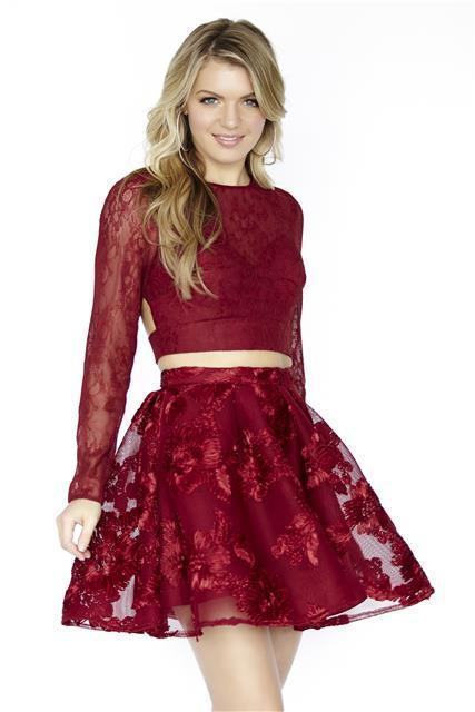 7c983c1df4 Long Sleeves Two Piece Burgundy Lace Short by prom dresses on Zibbet