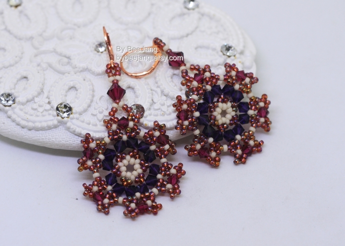 PDF Tutorial - Fiona Earrings Instant download Beadweaving Instruction Beading