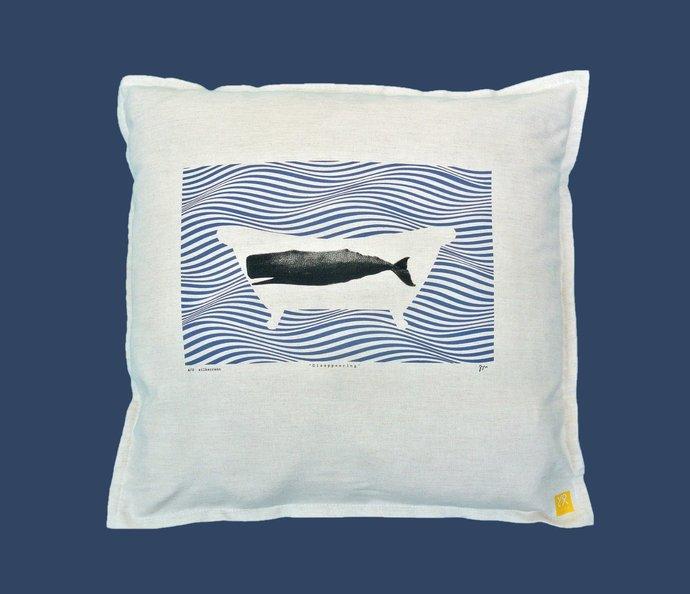 Original Art Pillow Cover Zippered, Whale, Cotton, Kids Scandinavian Design,