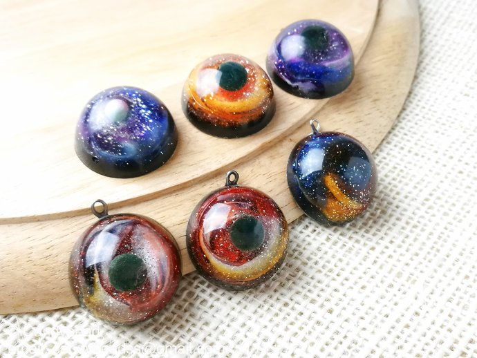 6x Galaxy And Space Resin Cabochon For Crafts Or By Candybead On