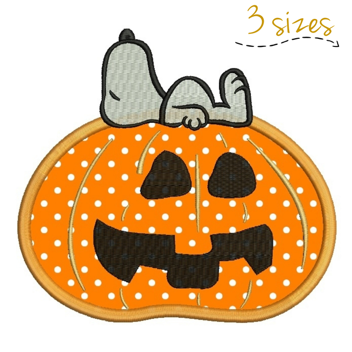 Snoopy Pumpkin applique embroidery machine designs Halloween digital instant