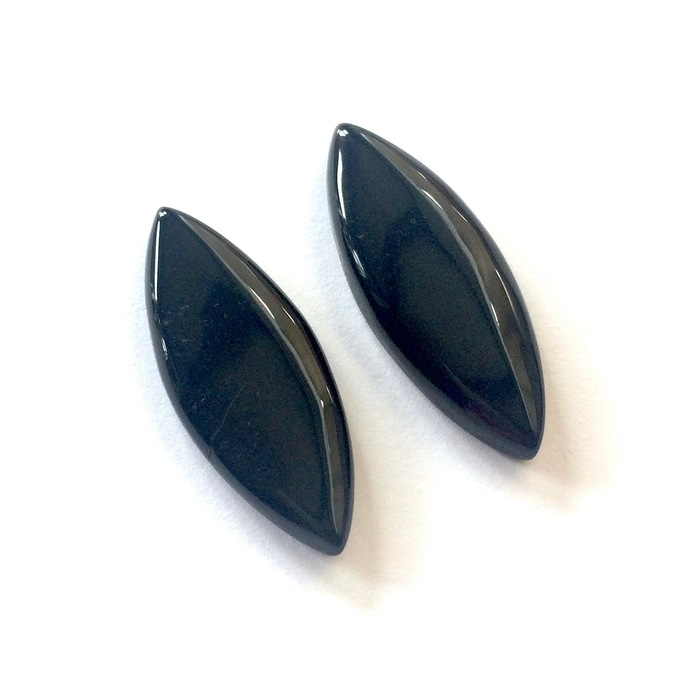 Black Onyx Gemstone Cabochon Marquise 30x12mm FOR TWO