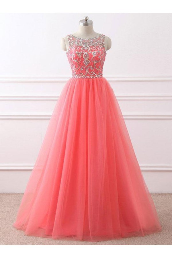 Coral Tulle Beaded Long Party Dresses, New Style Prom Dresses 2019, Formal  Gowns