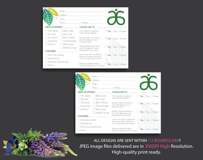 Arbonne Info Cards, Arbonne Raffle Entry Card, Floral Arbonne Card, Info Cards,