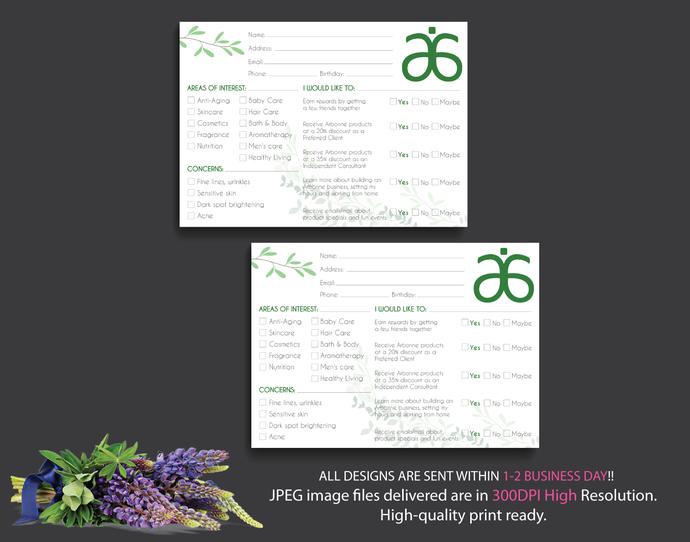 Arbonne Raffle Entry Card, Arbonne Info Cards, Floral Arbonne Card, Info Cards,