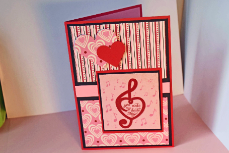 Valentines day greeting card handmade by smiles4paper on zibbet valentines day greeting card handmade hearts you make my heart sing in pink m4hsunfo