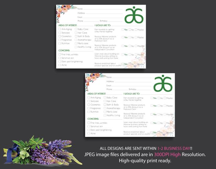 Arbonne Raffle Entry Card, Watercolor Arbonne Card, Arbonne Info Cards, Info