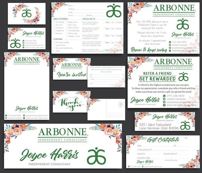 Arbonne Marketing Kit, Arbonne Consultant Cards, Personalized Arbonne Marketing