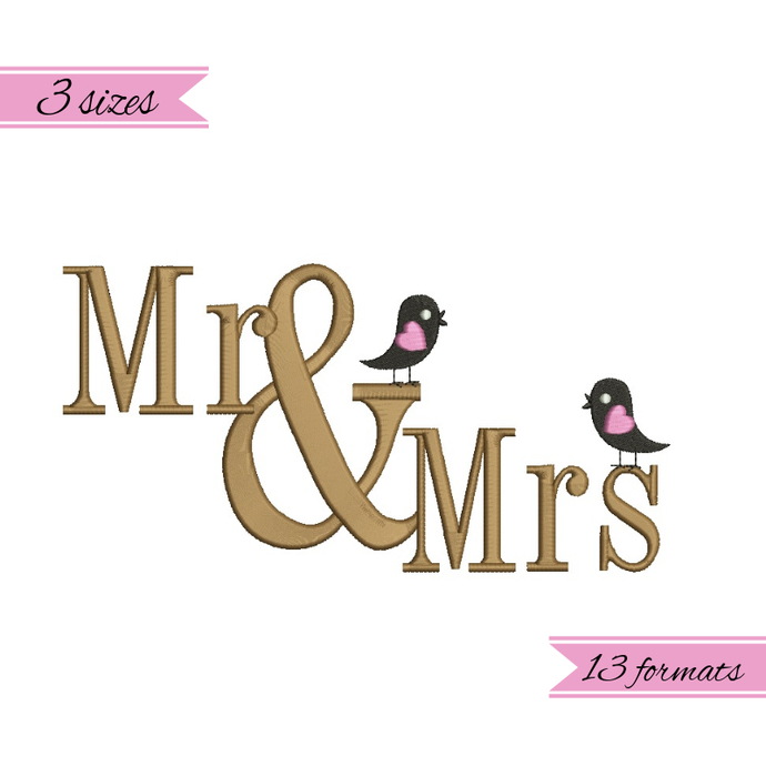 Wedding embroidery machine Mr. and Mdesigns wedding pattern heart marriage