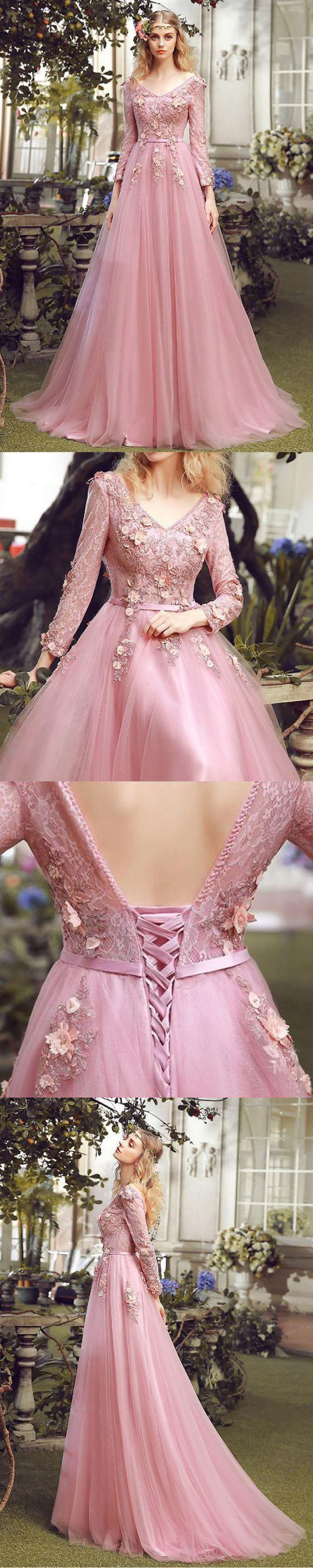 Long Prom Dress, V-Neck Prom Dress, Tulle Prom Dress, A-Line Prom Dress, Long