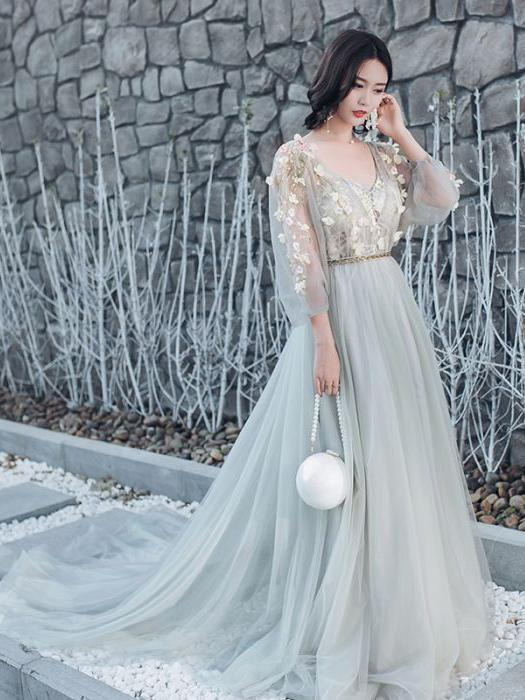 Chic Beautiful Prom Dress A-line Deep V Applique Long Prom Dress Evening Dress
