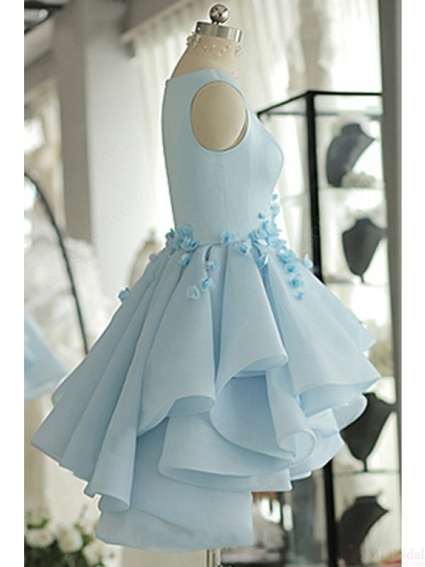 Sky Blue Layers Applique Short Homecoming Dresses Party Dresses Prom Dresses