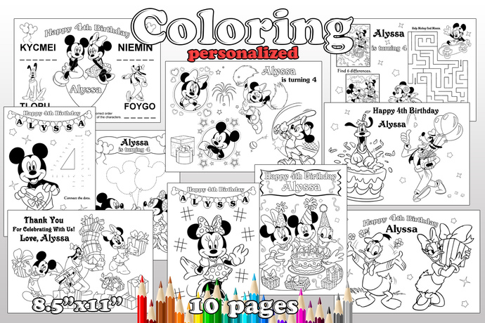MICKEY MOUSE Birthday Party favor, MICKEY MOUSE coloring pages, MICKEY MOUSE
