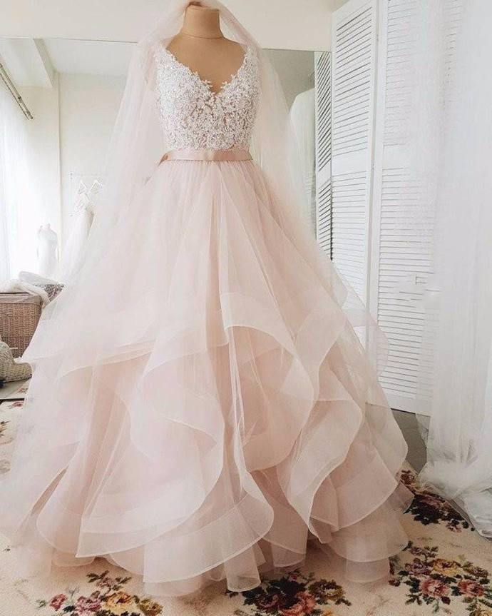 Blush Wedding Dress.V Neckline Blush Wedding Dress High Quality Lace Bridal Dress Tiered Skirt Wedding Gown