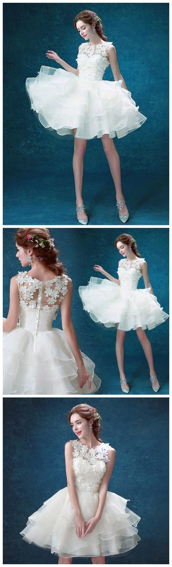 Chic Tulle Jewel Neckline Short A-line Homecoming Dresses With Flowers