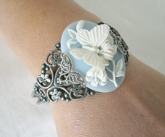 Butterfly Cuff Bracelet victorian art nouveau edwardian pin up nature boho